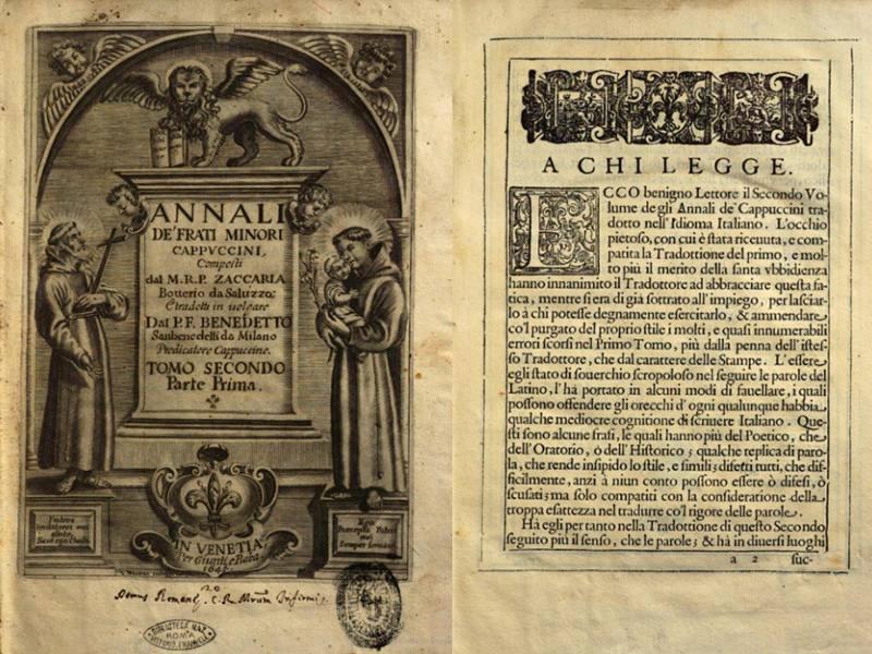 Annali de' frati minori cappuccini di Zaccaria Bouerio del 1645