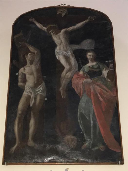 Cristo crocifisso tra S. Sebastiano e S. Lucia - Tela del XVIII secolo