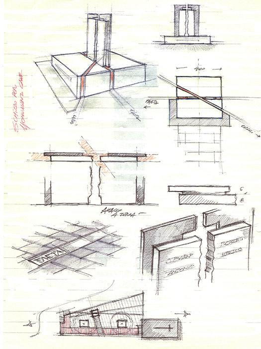 Il primo schizzo del monumento di Cave dell'arch. Gennaro Farinaro