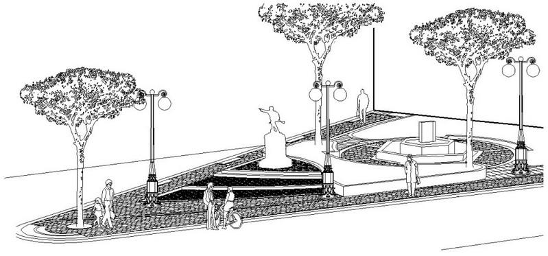 La nuova posizione del Monumento ed il nuovo assetto della Villetta