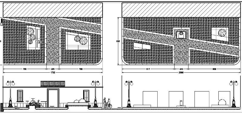 La zona antistante il Municipio (sx) equella degli esercizi commerciali (dx)
