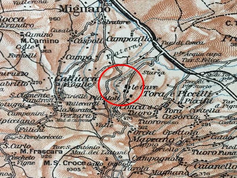 carta topografica della Campania del Touring Club Italiano del 1928
