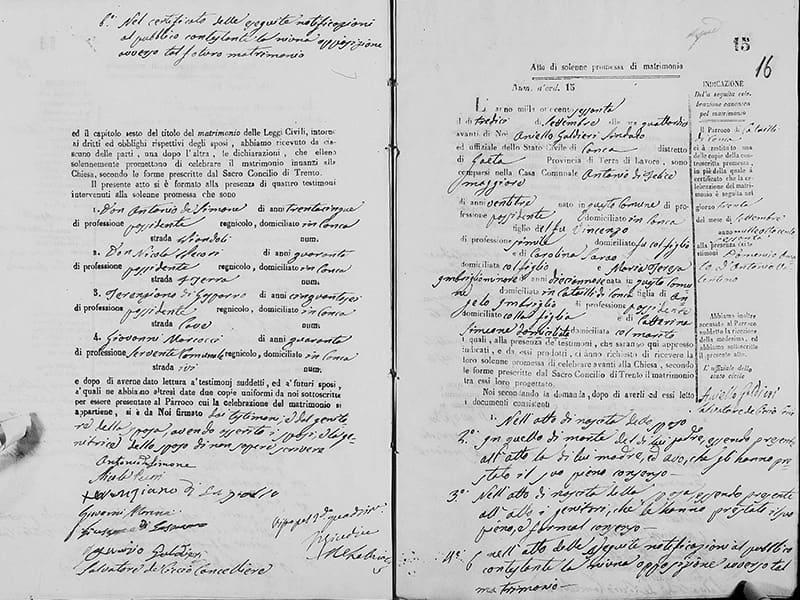 Atto della solenne promessa di matrimonio tra Antonio Di Felice e Maria Teresa Imbriglio