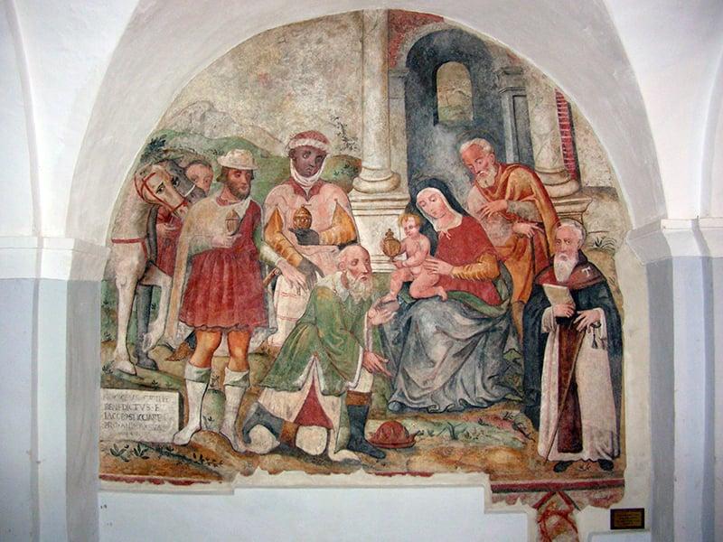 Affresco raffigurante l'Adorazione dei Magi del 1570