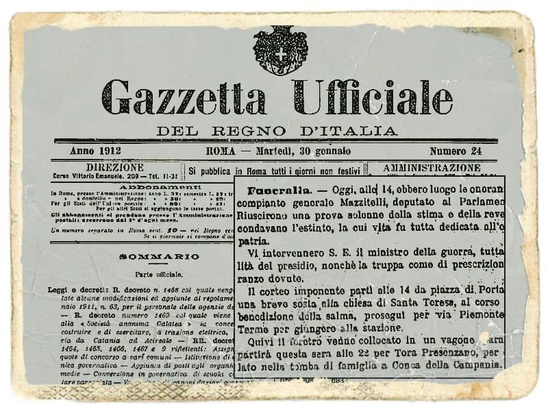 Articolo funerali Achille Mazzitelli