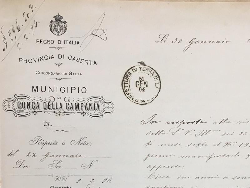 Estratto della risposta del Sindaco Paolo Emilio Galdieri al Prefetto di Terra di Lavoro
