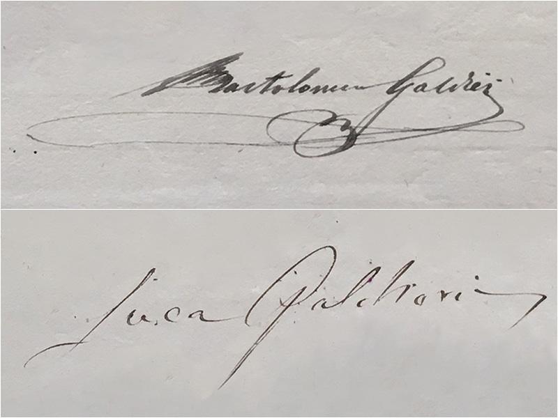 Firme di Bartolomeo e Luca Galdieri