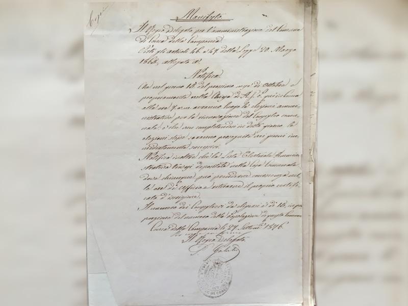 Manifesto di indizione delle elezioni del 15 ottobre 1876
